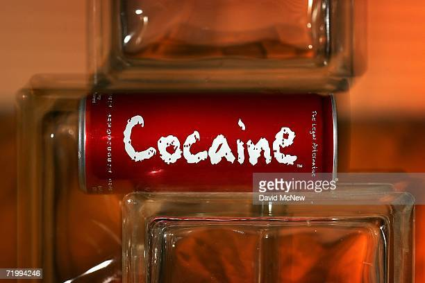 In this photo illustration a can of Cocaine a new energy drink that claims to have a kick similar to that of the illegal drug by the same name is...