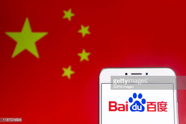 In this photo illustration a Chinese multinational technology company Baidu logo is seen on an Android mobile device with People's Republic of China...