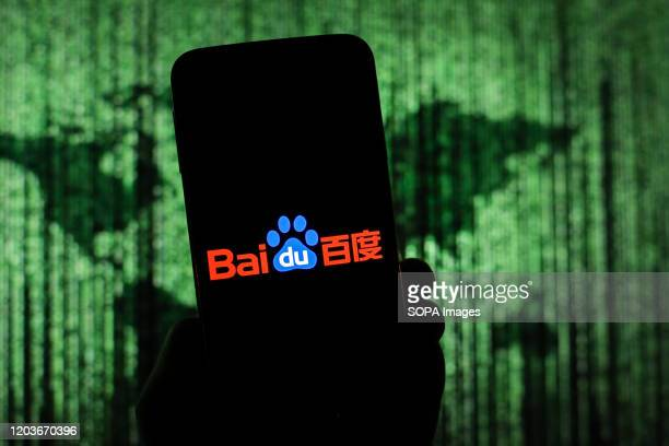 In this photo illustration a Chinese web search engine Baidu logo seen displayed on a smartphone.