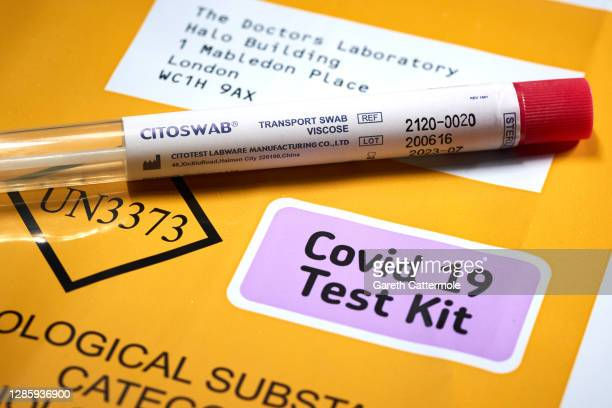 In this photo illustration, a Citoswab Coronavirus Home Test kit is displayed on November 13, 2020 in Essex, England.
