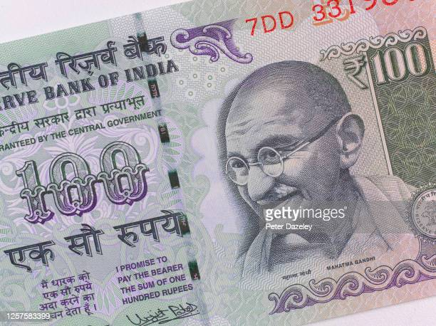 In this photo illustration a close up of Mahatma Gandhi on Indian banknote photographed on July 222020 in LondonEngland