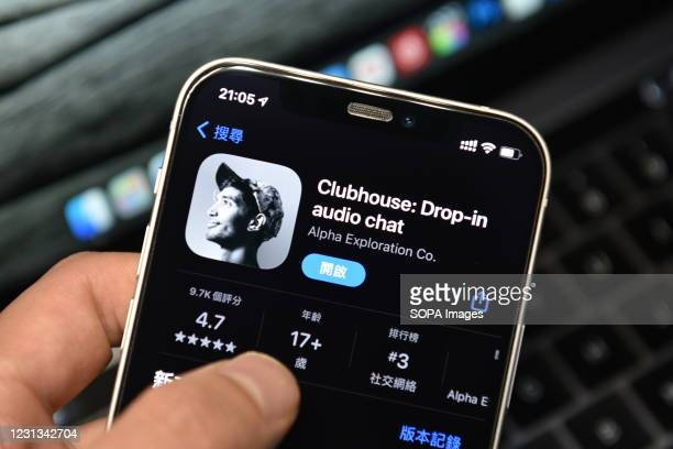 In this photo illustration, a Clubhouse App logo seen displayed on a smartphone.