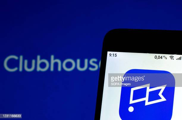In this photo illustration a Clubhouse Social Media logo is seen displayed on a smartphone.
