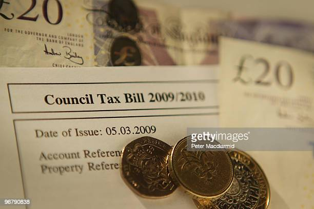 In this photo illustration a Council Tax Bill is displayed with coins on February 17 2010 in London England As the UK gears up for one of the most...