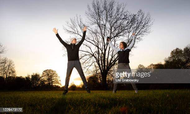 In this photo illustration a couple is doing stretches on November 04, 2020 in Bonn, Germany.