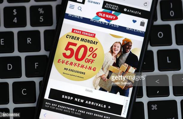 In this photo illustration a Cyber Monday ad for Old Navy is displayed on an iPhone on November 27 2017 in San Anselmo California Cyber Monday will...