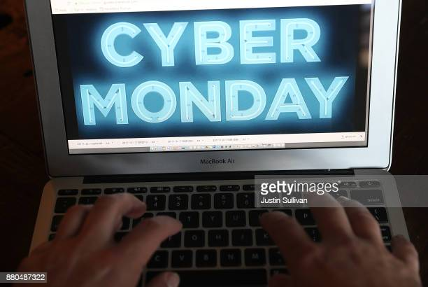 In this photo illustration a Cyber Monday ad is displayed on a laptop computer on November 27 2017 in San Anselmo California Cyber Monday will likely...