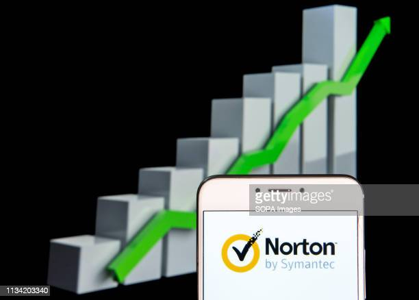 In this photo illustration a cybersecurity and antivirus malware software developed by Symantec Corporation Norton Antivirus logo is seen on an...
