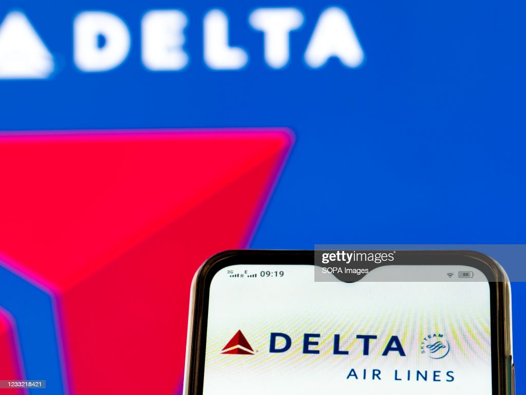 In this photo illustration, a Delta Air Lines, Inc., logo... : News Photo