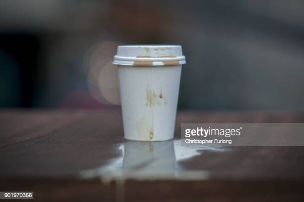 In this photo illustration a disposable coffee cup sits on a wall on January 05 2018 in Manchester England Some members of the UK Parliament are...