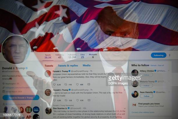 In this photo illustration a double exposure image shows the President of United States of America, Donald Trump with social media network Twitter.