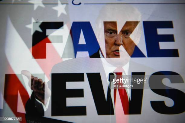 A double exposure image shows the President of United States of America Donald Trump with a sentence saying 'Fake news' in this photo illustration