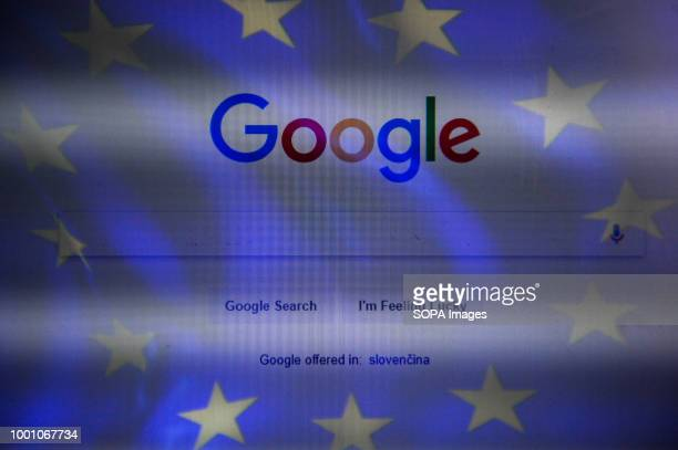 A double exposure image with EU flag and google web page