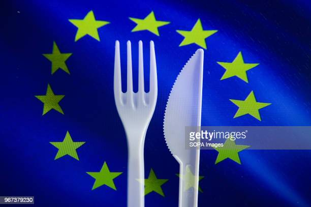 In this photo illustration a double exposure images shows plastic cutlery with EU flag The EU Commission presented a Plastics Strategy on 28 May 2018...
