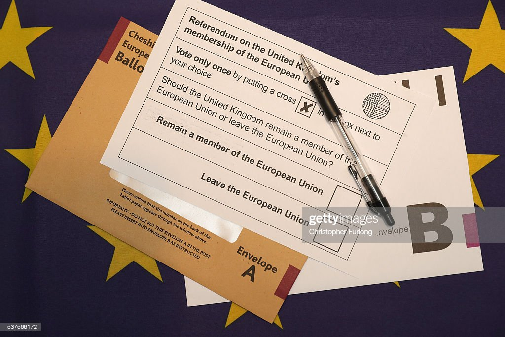 In this photo illustration a European Union referendum postal voting form, waits to be signed on June 1, 2016 in Knutsford, United Kingdom. The United Kingdom will hold a referendum on June 23, 2016 to decide whether or not to remain a member of the European Union (EU), an economic and political partnership involving 28 European countries which allows members to trade together in a single market and free movement across it's borders for cirtizens.