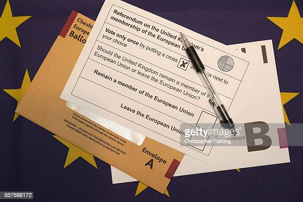 In this photo illustration a European Union referendum postal voting form waits to be signed on June 1 2016 in Knutsford United Kingdom The United...