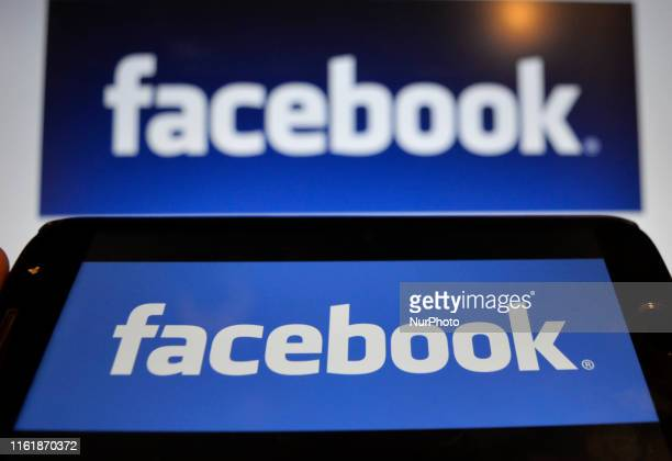 In this photo illustration a Facebook logo can be seen on a mobile screen as well as on a laptop screen Kolkata India 16 August 2019Facebook users...