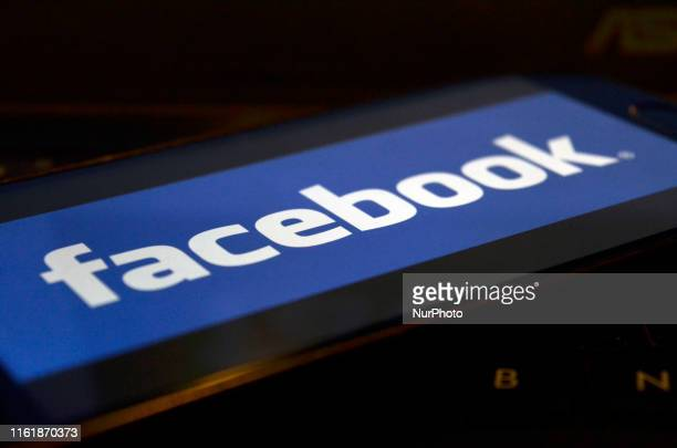 In this photo illustration a Facebook logo can be seen on a mobile screen Kolkata India 16 August 2019Facebook users sues the world's largest social...