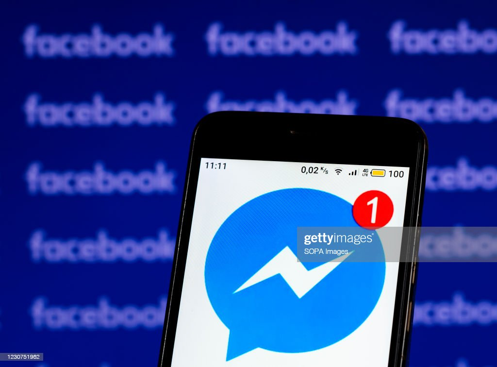 In this photo illustration a  Facebook Messenger logo seen... : News Photo