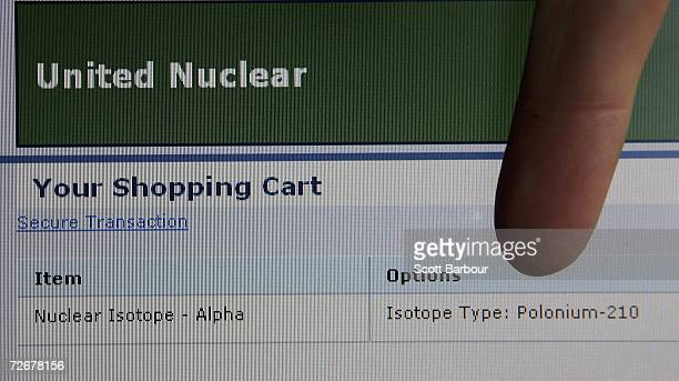 In this photo illustration a finger points towards information displayed on a website which sells polonium 210 on November 30 2006 in London England...