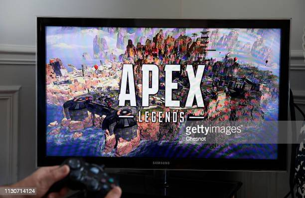 In this photo illustration a gamer plays the video game Apex Legends developed by Respawn Entertainment and published by Electronic Arts on February...