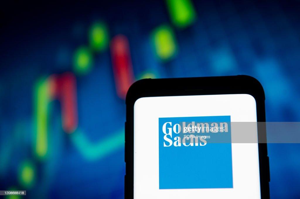 In this photo illustration a Goldman Sachs logo seen... : News Photo