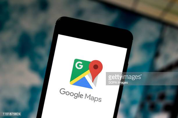 In this photo illustration a Google Maps logo seen displayed on a smartphone