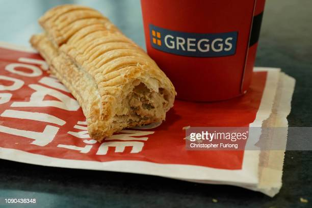 In this photo illustration, a Greggs vegan sausage roll lays on a table on January 06, 2019 in Manchester, England. Greggs bakers recently launched...
