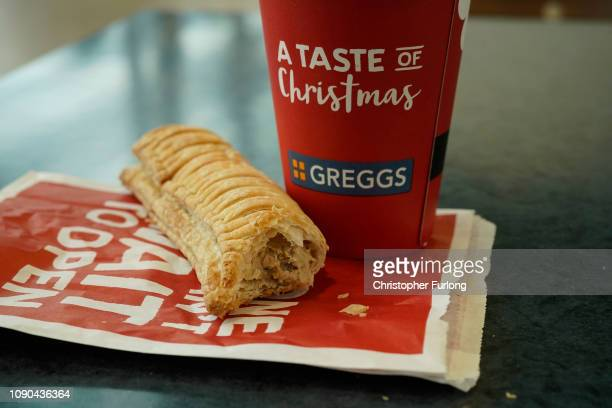 In this photo illustration a Greggs vegan sausage roll lays on a table on January 06 2019 in Manchester England Greggs bakers recently launched the...