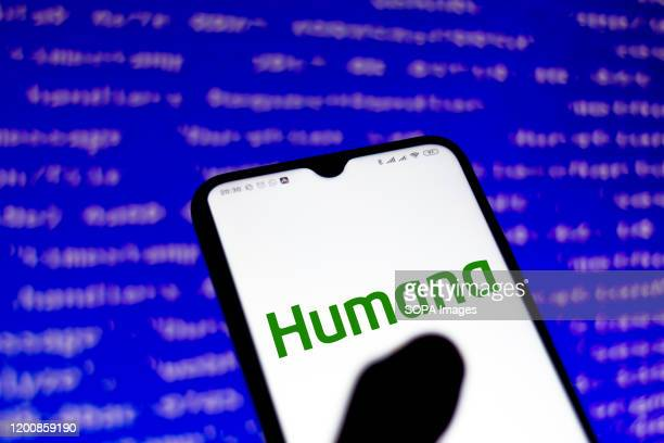 In this photo illustration a Humana Inc logo app seen displayed on a smartphone.
