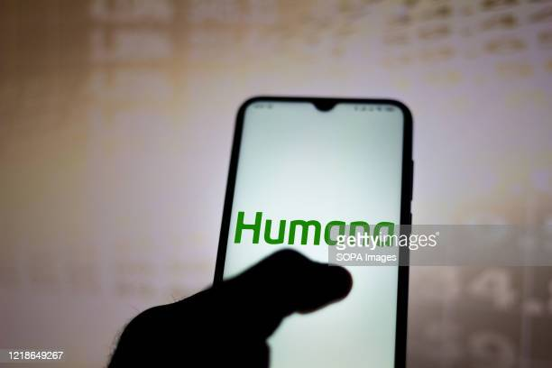 In this photo illustration a Humana logo seen displayed on a smartphone.