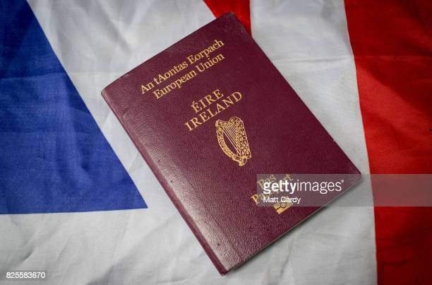 In this photo illustration a Irish passport is seen on August 2 2017 in Wells England Applications for Irish citizenship from people in the UK with...