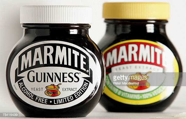 In this photo illustration A jar of Marmite spread sits with a Guinness special edition version on February 25 2007 in London The special Guinness...