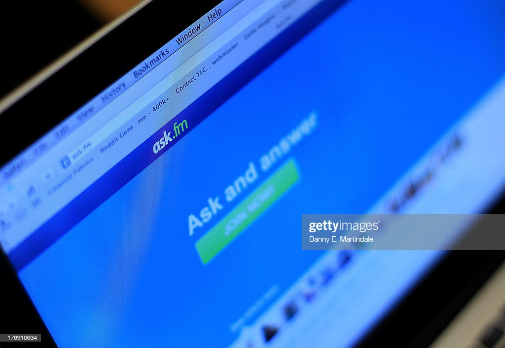 In this photo illustration a laptop computer shows the Ask.FM website, on August 19, 2013 in London, England. The site has been criticised by the British PM David Cameron who urged parents to boycott 'vile sites'. The Ask.FM website has been linked to two bullying cases where the young person has taken there own life.