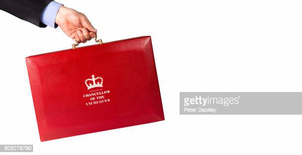 In this photo illustration a Man holds the Chancellor of the Exchequers case budget box held against white background on February 27 2018 in...