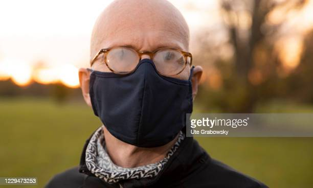 In this photo illustration a man is wearing a misty glasses and mask on November 04, 2020 in Bonn, Germany.