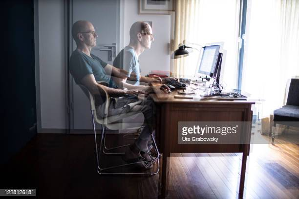 In this photo illustration a man is working in homeoffice on August 19 2020 in Bonn Germany