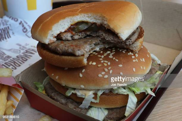 In this photo illustration, a McDonald's Big Mac and double hamburger are seen on a tray on April 30, 2018 in Miami, Florida. The fast-food...