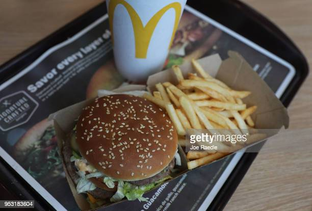 In this photo illustration, a McDonald's Big Mac and french fries are seen on a tray on April 30, 2018 in Miami, Florida. The fast-food restaurant...