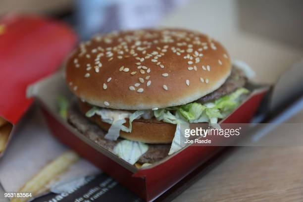 In this photo illustration, a McDonald's Big Mac is seen on a tray on April 30, 2018 in Miami, Florida. The fast-food restaurant reported today that...