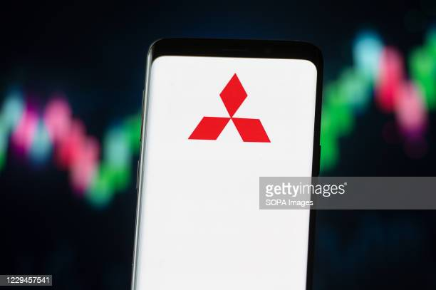 In this photo illustration a Mitsubishi logo seen displayed on a smartphone.
