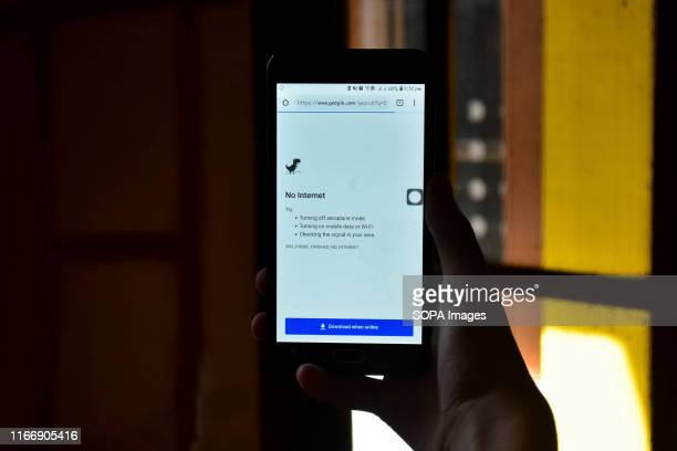 In this photo illustration a 'No Internet' notification displayed on a smartphone during the shutdown in Srinagar Communication blockade with mobile...