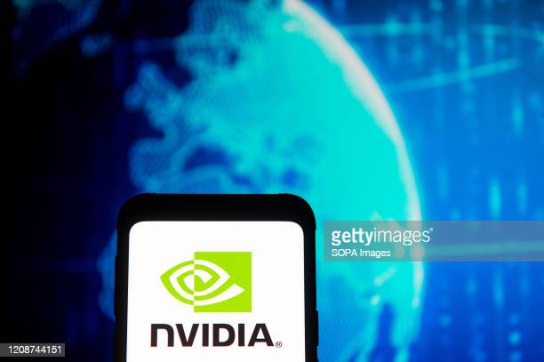 In this photo illustration a Nvidia logo seen displayed on a smartphone.