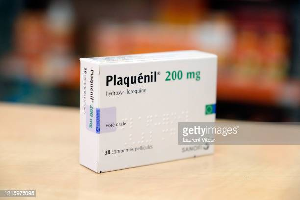In this photo illustration a pack of Plaquenil is displayed in a Parisian pharmacy on March 31 2020 in Paris France Chloroquine or Hydroxychloroquine...