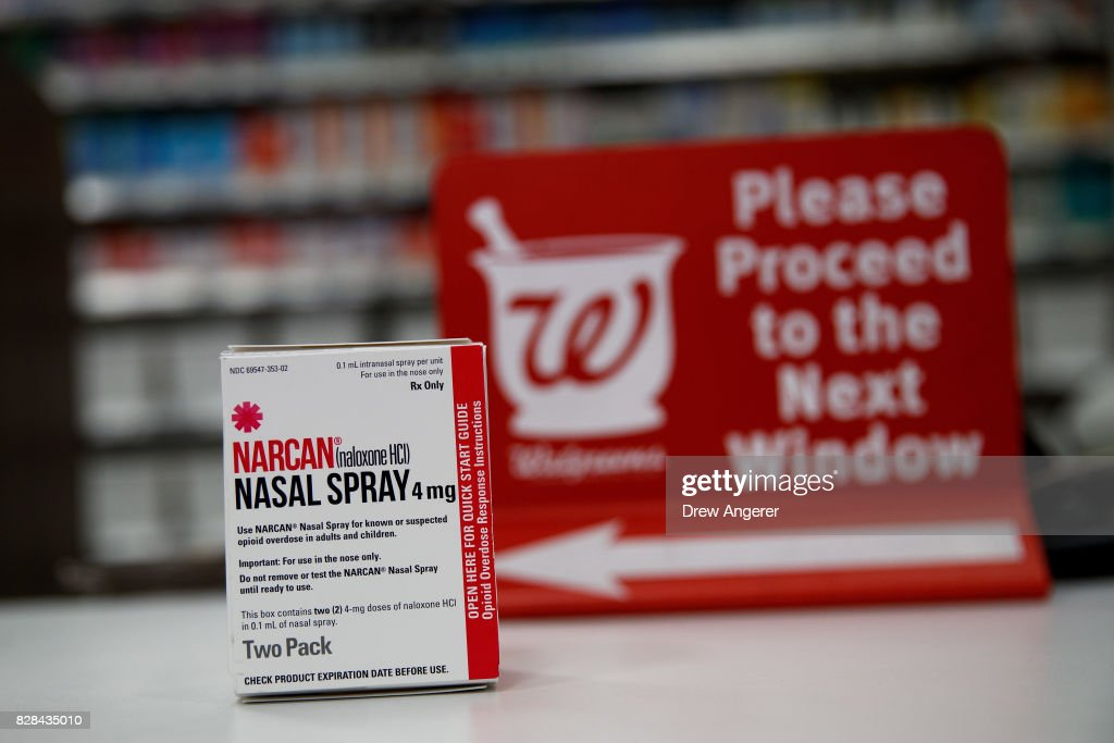 In this photo illustration, a package of NARCAN (Naloxone) nasal spray sits on the counter at a Walgreens pharmacy, August 9, 2017 in New York City. Starting on Wednesday, New York Governor Andrew Cuomo announced on Monday that no-cost or low cost Naloxone (NARCAN), a drug that can help reverse the effects of an opioid overdose, will be available at all pharmacies across New York state.
