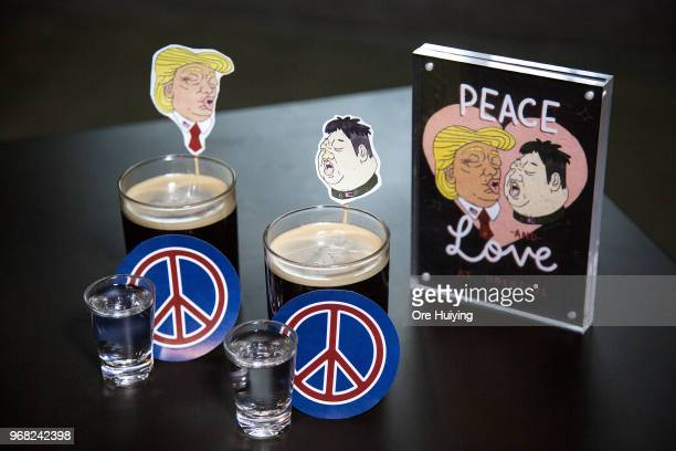 In this photo illustration a pair of drinks nicknamed 'Bromance' is created specially for the TrumpKim Summit by local bar Hopheads on June 6 2018 in...