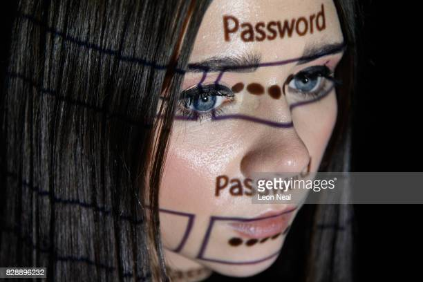 In this photo illustration a password login box is projected onto the face of a woman on August 09 2017 in London England With so many areas of...