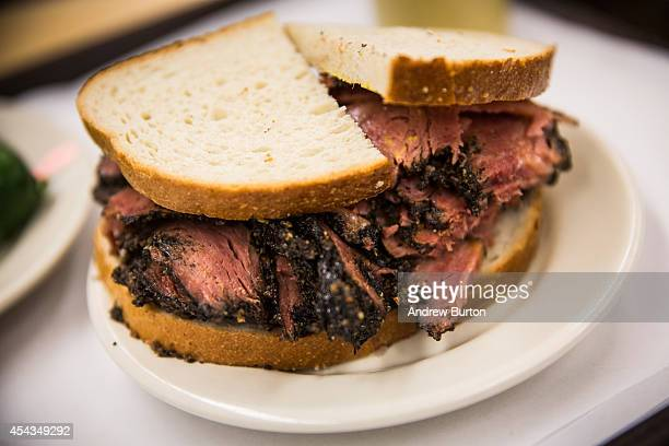 In this photo illustration a pastrami on rye sandwich is displayed in Katz's Deli on August 29 2014 in New York City The iconic New York deli...