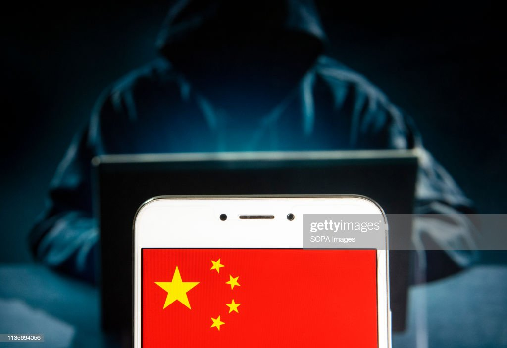 In this photo illustration a People's Republic of China flag