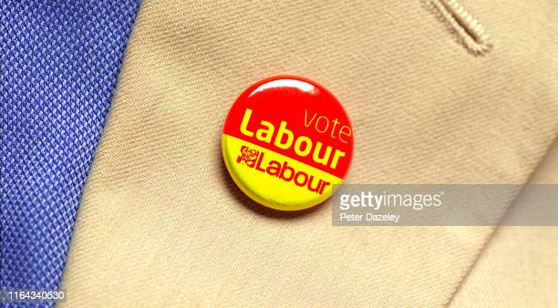 In this photo illustration a person wears a Labour Party badge photographed July 18 2019 in London